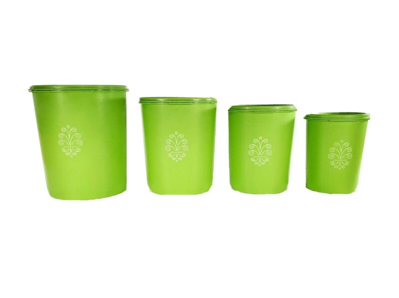 VINTAGE Tupperware Set of 4 Apple Green Servalier Cannisters with Lids