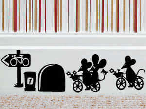 Bicycle Mouse Wall Art Sticker Vinyl Decal Mice Home Skirting Board Removable