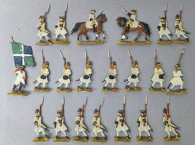 21 Zinnfiguren  2 x Reiter ca 4,5 cm Soldaten  Flachfiguren @ graue Uniform # 34 ()