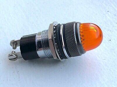 Vintage Dialco AMBER dome lens dash gauge panel light Hot Rod 5/8 OLD Military