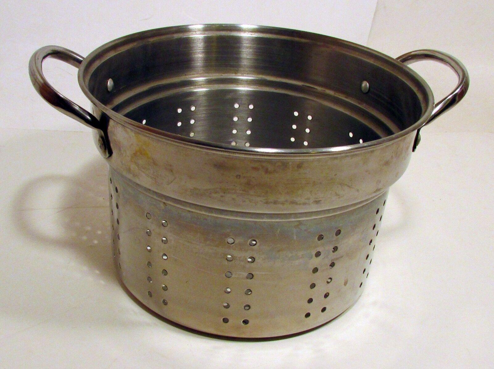 "Stainless Steel Pasta Advertisement Strainer Steamer Colander 6-3/4"" x 10"" Pot boiler"