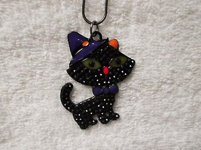 Cartoon Black CAT Inspired Large Charm NECKLACE Snake Chain Kitty Halloween (Black Cat Cartoon Halloween)