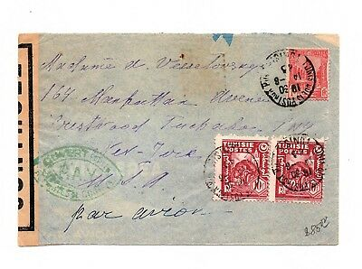 "TUNISIE Cover TO US "" P.A.V ""  GREEN CANCEL  CENSORED  COLIS POSTAUX LOT (TUN09)"
