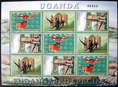2001 MNH UGANDA WILD ANIMALS STAMP SHEET ENDANGERED SPECIES WILDLIFE LEOPARD - Endangered Wildlife Animals