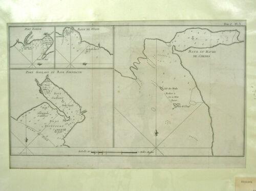 1774 CAPTAIN COOK VOYAGE MAP ORIGINAL COPPER PLATE - BAYE ET HAVRE DE CORDES