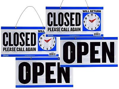 Double Sided Open Closed Will Return Sign With Clock Hands 6 X 11.5 2 Pack
