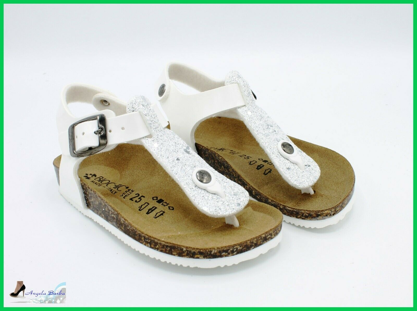 Biochic Sandals Baby Flip-Flops for Baby Girl Leather Anatomic with Strap