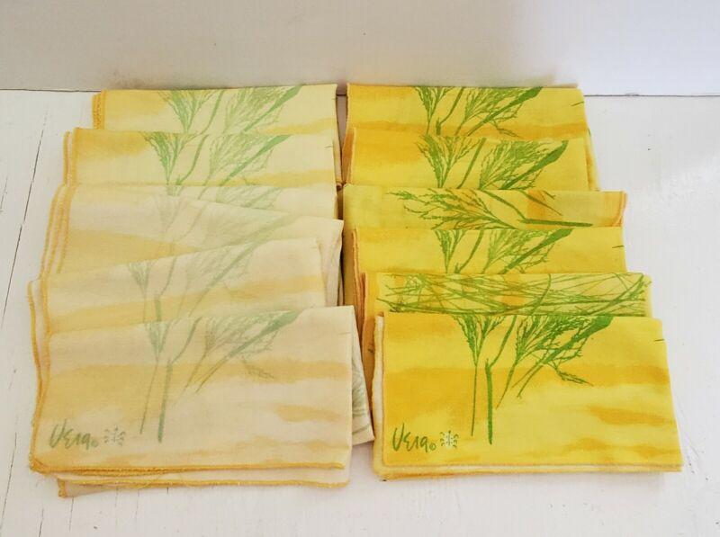 Vintage Vera Ladybug Napkins Yellow & Green Cotton Fabric Set of 12 1970