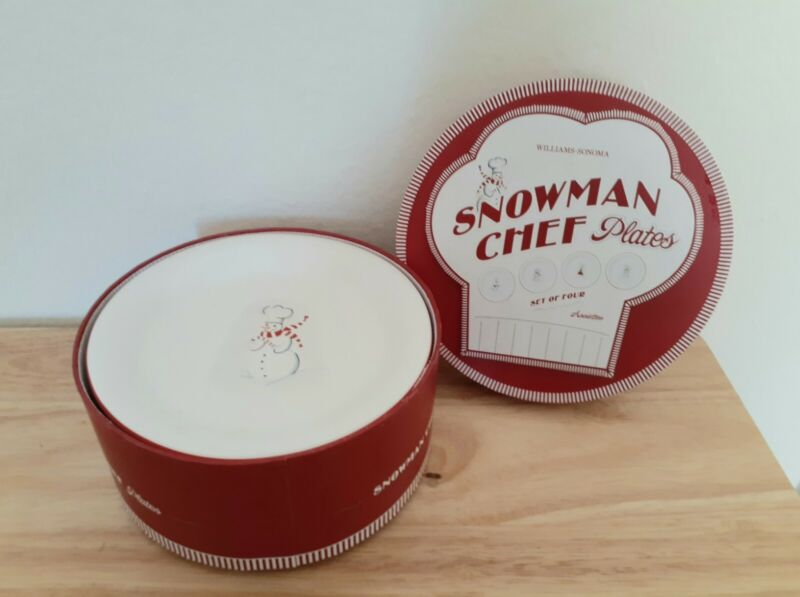 """William Sonoma Christmas Snowman Chef 6"""" Plates Set Of with Box"""