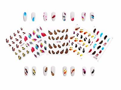 Slide Sheets - 5 Sheets Feather Nail Art Water Slide Decals Transfer Stickers Tattoos Tips Deco