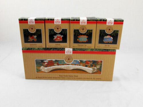 New Hallmark 1991 Claus & Co. R.R. Train Set of 4 Ornaments w Trestle Collection