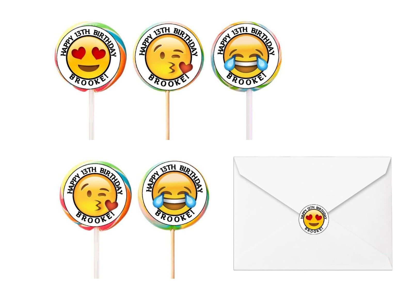 30 Emoji Birthday Stickers Lollipop Labels Party Favors 1.5