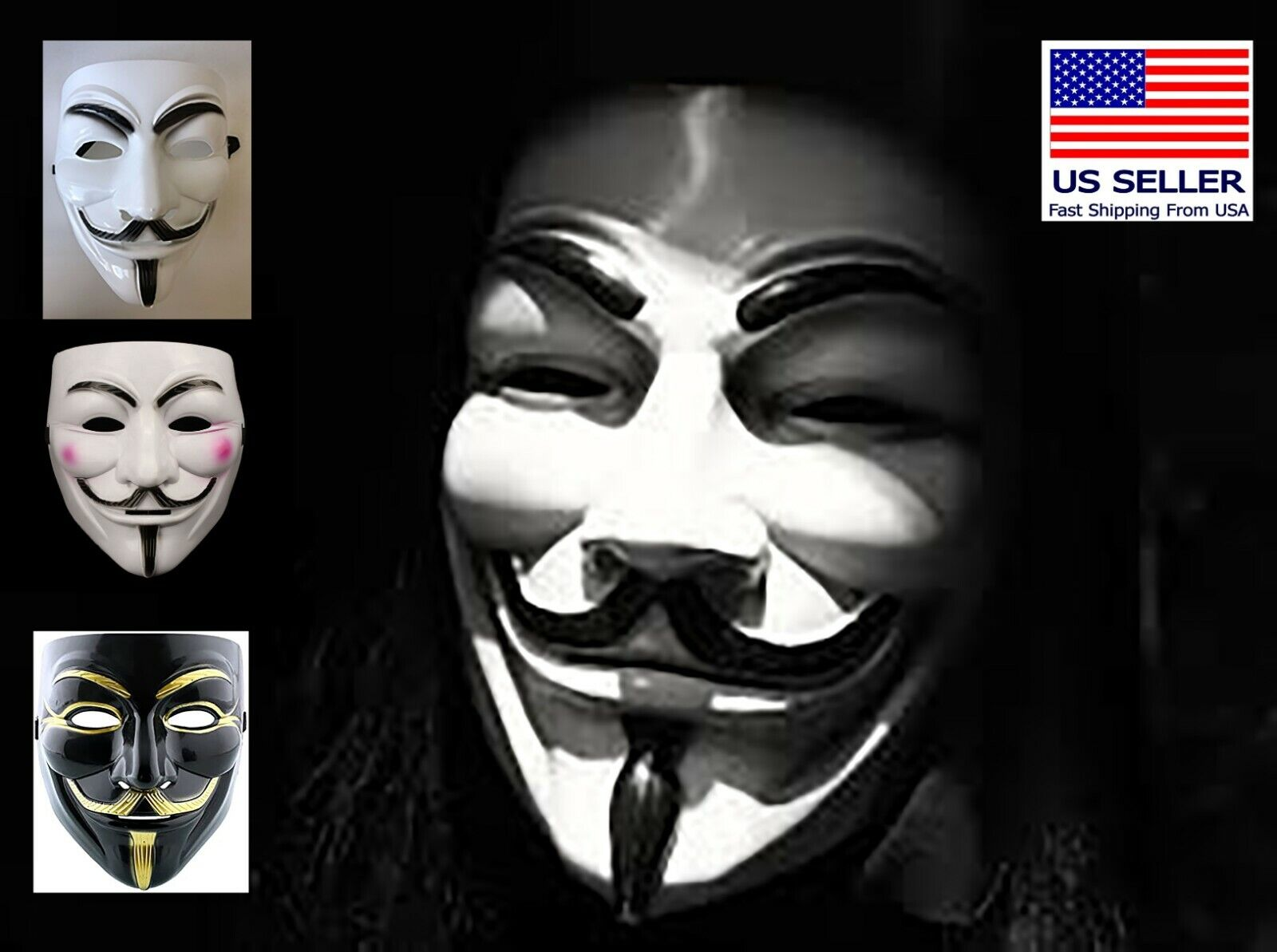 C2Y2 Anonymous V for Vendetta Guy Fawkes Fancy Dress Halloween Face Mask