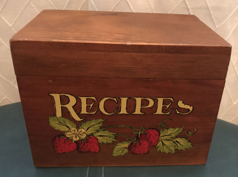 Vintage Retro Wood Recipes Box Painted Strawberry Strawberries
