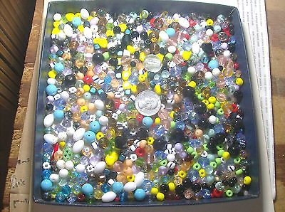 LARGE COLLECTION OF ASSORTED GLASS BEADS-----#55--VINTAGE