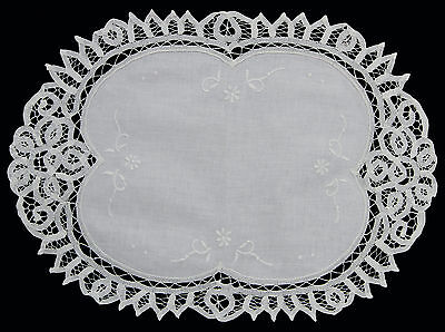 Battenburg Lace White Placemat Table Runner with Hand Embroidery 0032](White Runner)