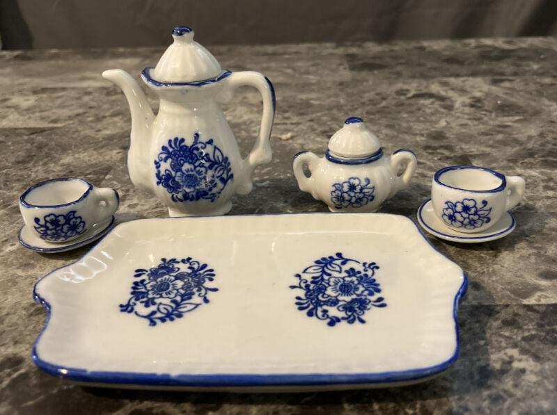 7 Piece Miniature Blue White Porcelain Tea Set Dollhouse Handcrafted in Thailand