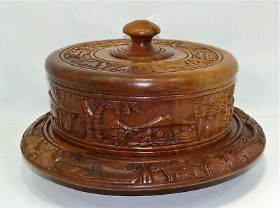Stunning Hand Carved Cake Plate & Cover, Solid Mahogany