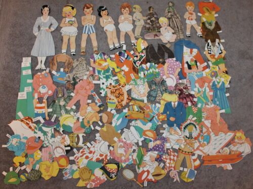 VINTAGE LOT OF PAPER DOLLS AND CLOTHES/ACCESSORIES