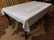 Vintage Linen Damask Tablecloth