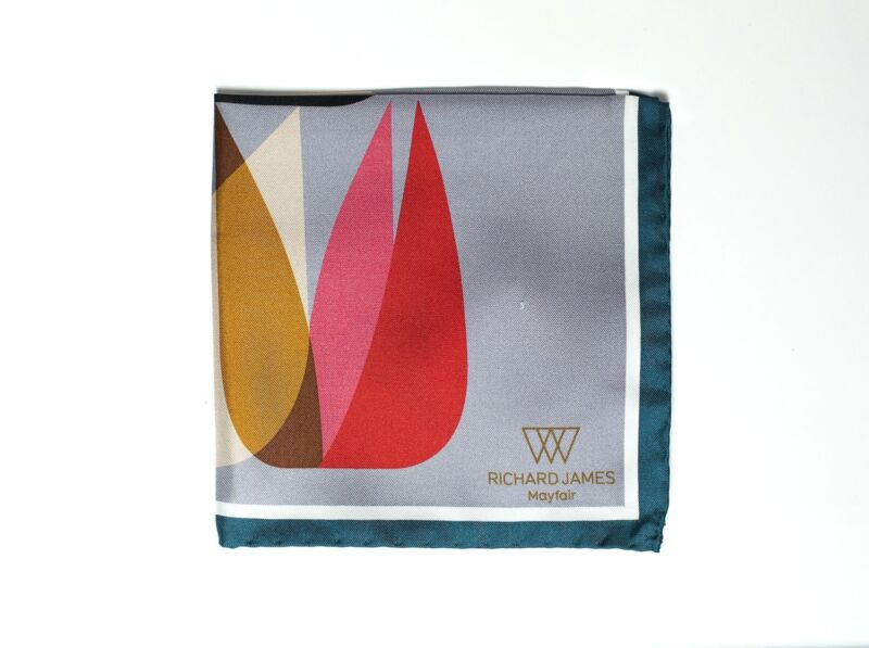 Richard James Mayfair Printed Silk Pocket Square ~ Made in Italy