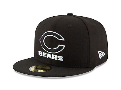 New Era 59Fifty Cap Mens NFL Chicago Bears Black White Logo Fitted 5950 Hat 59fifty White Hat