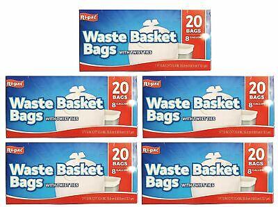 Ri-Pac Waste Basket Bag Trash Bag Garbage Bag with Twist ties 8 Gallon (100 CT), used for sale  Colton