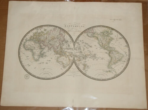 "Original 1835 World Hemispheres - Brue Atlas 26"" x 21"" Huge map - Antique"