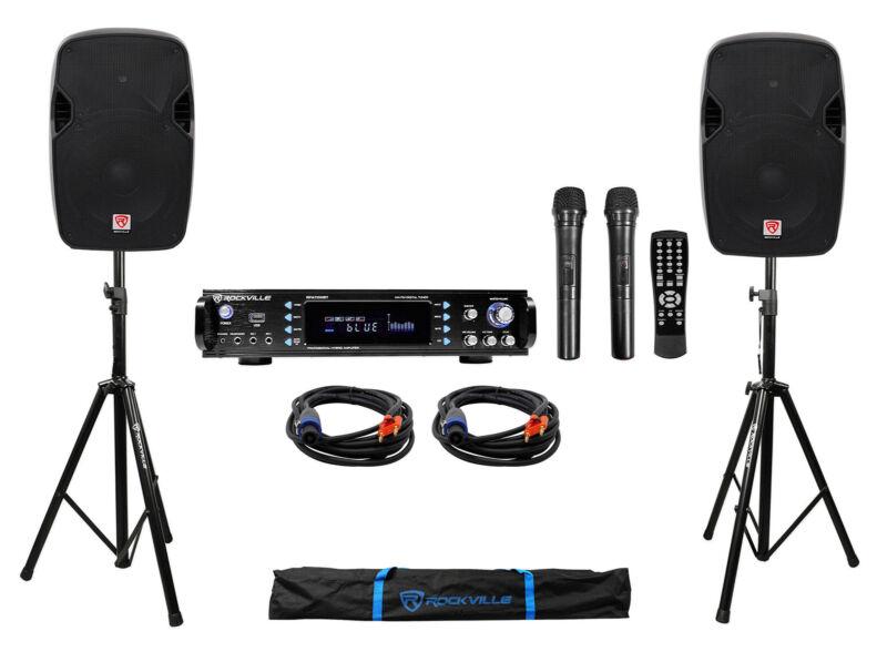 "DJ Package w/ (2) 12"" 1200 Watt Speakers+Bluetooth Amplifier+Stands+Cables+Bag"
