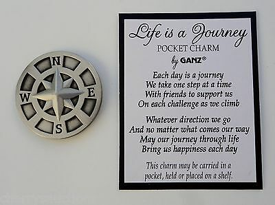 j LIFE IS A JOURNEY POCKET TOKEN charm symbol compass traveler rehab missionary