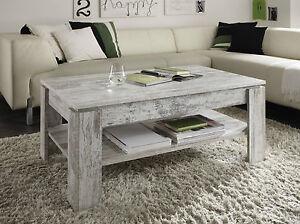 Couchtisch Wohnzimmer Tisch Pinie weiß Shabby Beistelltisch mit Ablage Holztisch