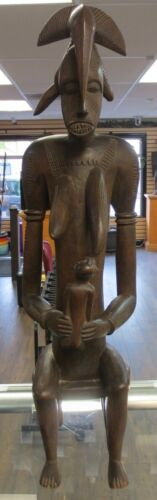 Antique Senufo African Tribal Statue Mother & Child