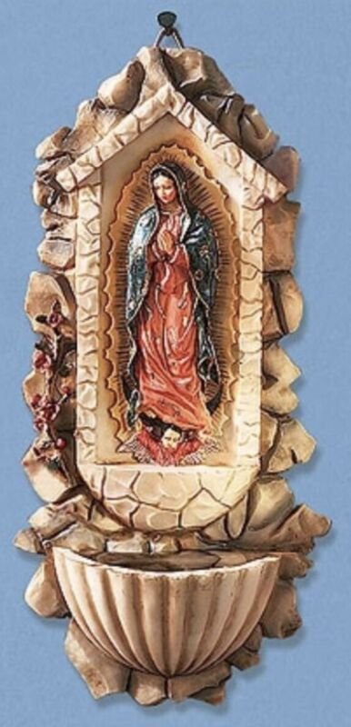 """10"""" H Our Lady of Guadalupe WALL FONT Holy Water Decoration Latin Gift CC872"""