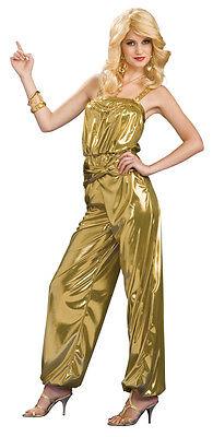 Women's Solid Gold Diva Costume 70's Disco Jumpsuit Adult Size Standard