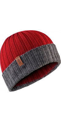 Gill Wide Rib Knit Beanie - Red with Grey Strip Hat Cap HT33