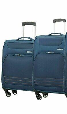 American Tourister Bombay Beach 2 Pc Spinner Suitcase Set, Blue *Cabin Medium* D