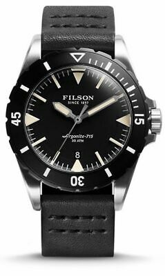 $800 FILSON Dutch Harbor BLACK Leather 43mm 300 Meter Dive Watch F0120001751