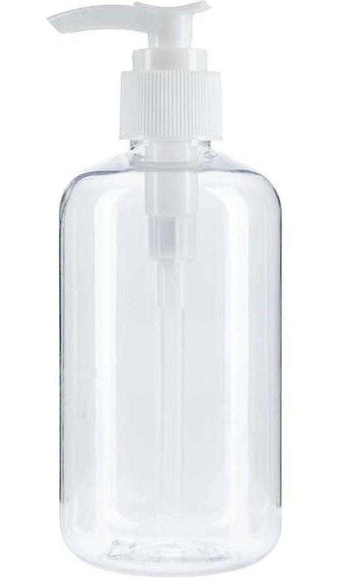 pUmP DISPENSER BOTTLE 8 oz Clear plastic refillable liquid