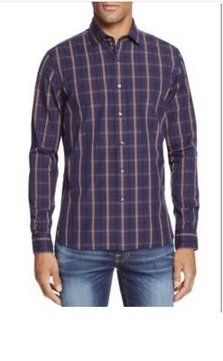 New $98 The Men's Store Bloomingdale's Chocolate & Navy Dress Button Up Shirt M ()
