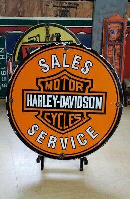 HARLEY DAVIDSON MOTORCYCLES SALES porcelain sign vintage DEALER motor oil