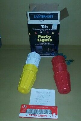 Vintage Tiki Party Lights Lantern Set 7 Lanterns NO. 1850 Blow Mold Patio RV