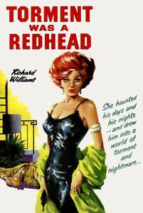 Sexton-Blake-Redhead-Torment-vintage-old-repro-sleaze-pulp-book-cover-poster