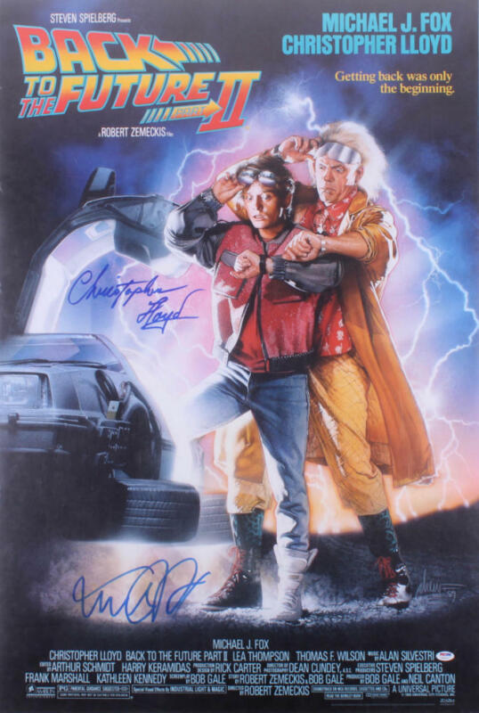 MICHAEL J FOX CHRISTOPHER LLOYD SIGNED BACK TO THE FUTURE 2 27X40 POSTER PSA LOA