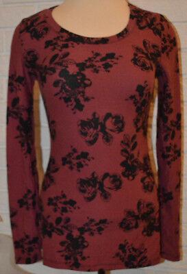 Womens Rue 21 Dark Rose Pink Long Sleeve Stretch Top Sizes Xs  S  M  Xl