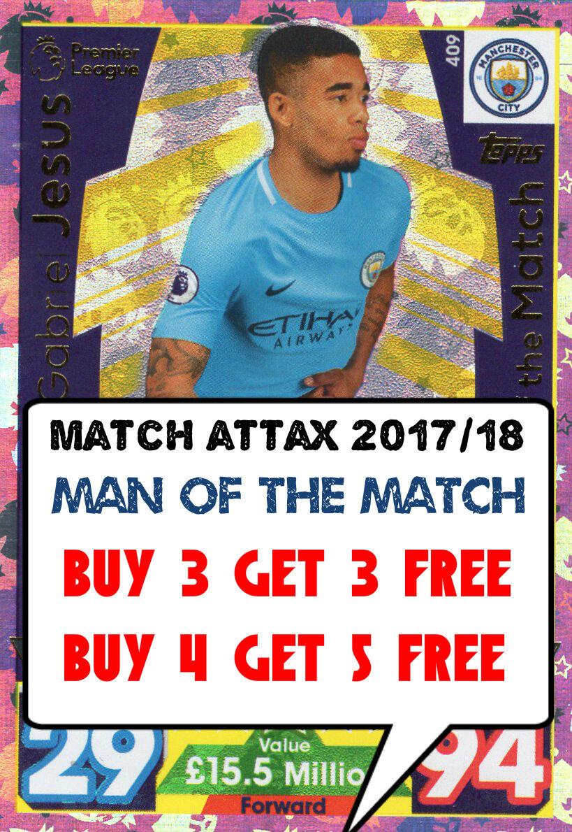 MATCH ATTAX 17/18 MAN OF THE MATCH CARDS 2017/18 MOTM ATTACK