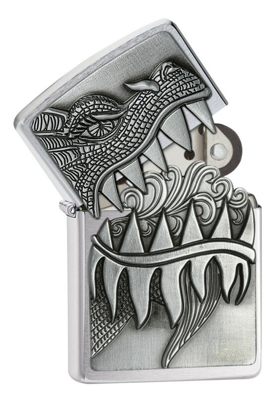 Zippo Fire Breathing Dragon Brushed Chrome Windproof Pocket Lighter, 28969
