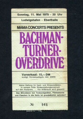 1975 Bachman Turner Overdrive Thin Lizzy Concert Ticket Stub Germany