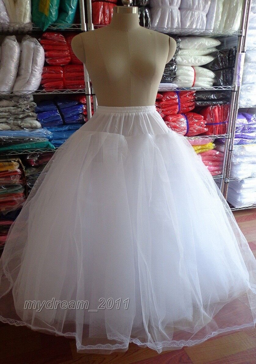 White 3 or 8 Layers Tulle Hoopless Wedding Dress Underskirt ...