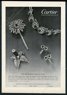 1949 Cartier jewelry diamond flower clip earclips photo vintage print ad