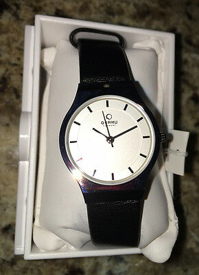 OBAKU HARMONY LADIES QUARTZ STAINLESS WATCH NEW WHITE DIAL V123LCIRB BLK LEATHER for sale  Shipping to Canada